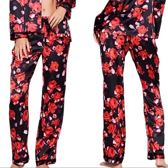Victoria's Secret Black Rose The Satin Pajama Pant